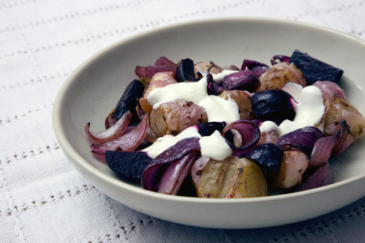 Oca roasted in olive oil and balsamic vinegar, with red onions and beetroot, dressed with soured cream